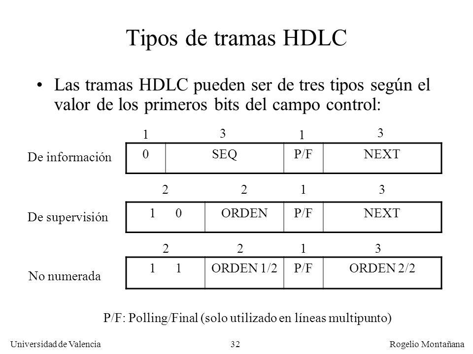 32 Universidad de Valencia Rogelio Montañana Tipos de tramas HDLC Las tramas HDLC pueden ser de tres tipos según el valor de los primeros bits del cam