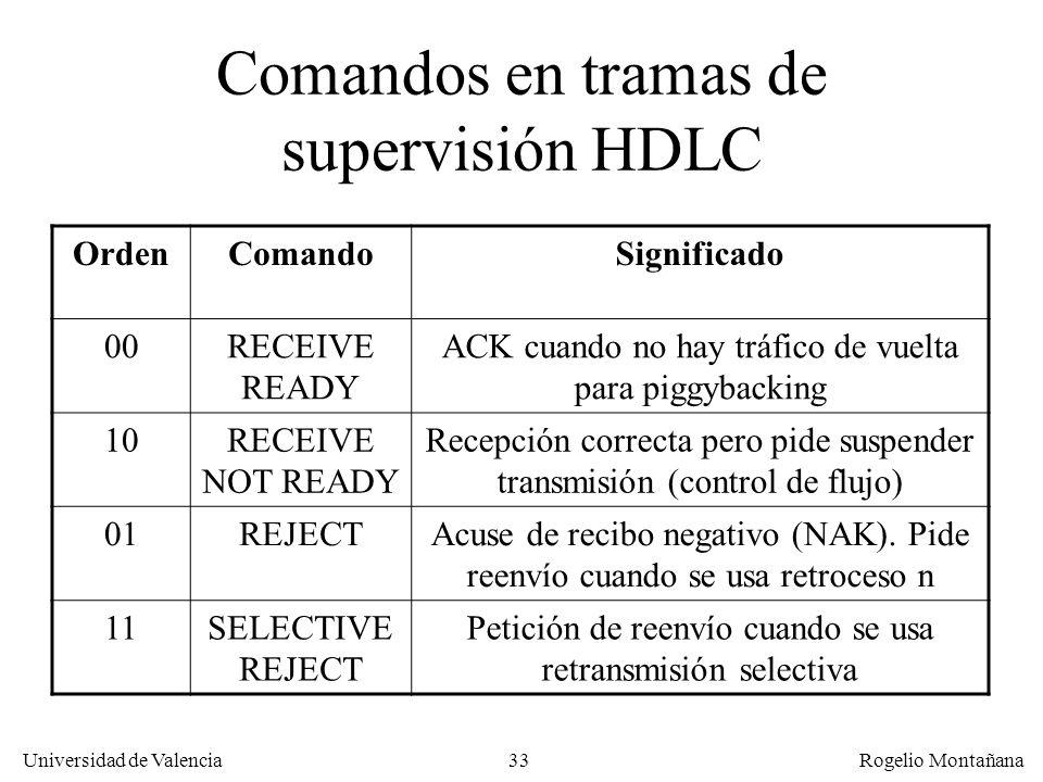 33 Universidad de Valencia Rogelio Montañana Comandos en tramas de supervisión HDLC OrdenComandoSignificado 00RECEIVE READY ACK cuando no hay tráfico