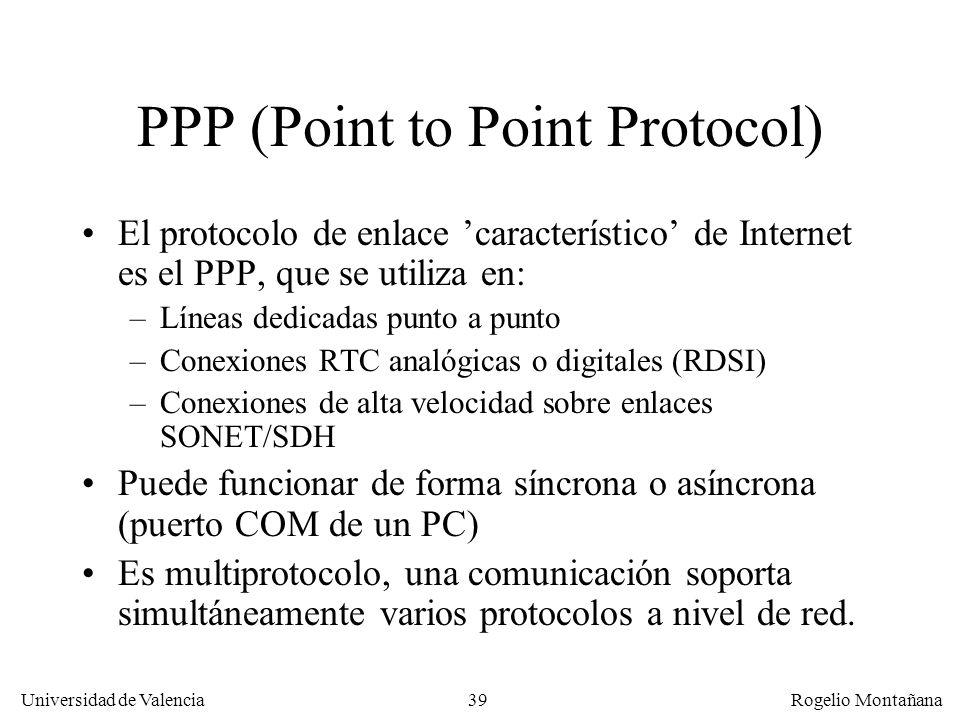 39 Universidad de Valencia Rogelio Montañana PPP (Point to Point Protocol) El protocolo de enlace característico de Internet es el PPP, que se utiliza
