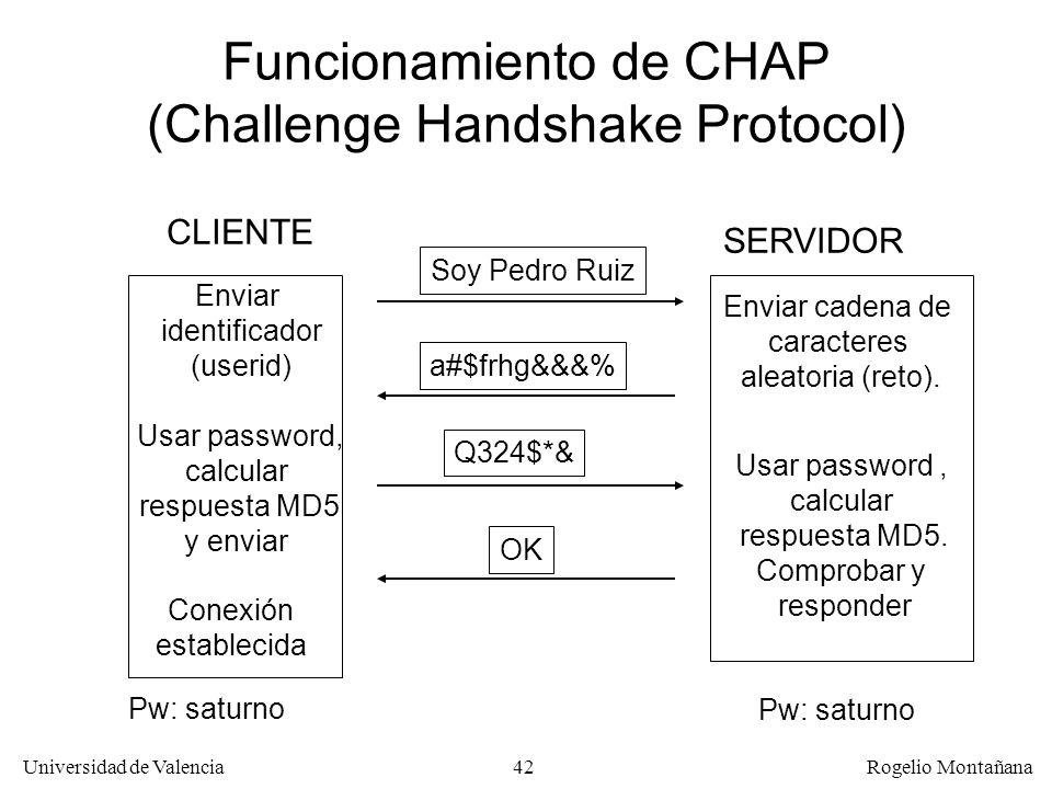 42 Universidad de Valencia Rogelio Montañana Funcionamiento de CHAP (Challenge Handshake Protocol) Enviar identificador (userid) Soy Pedro Ruiz a#$frh