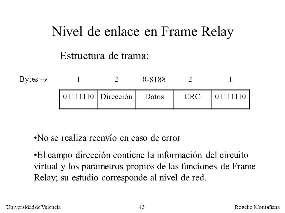 43 Universidad de Valencia Rogelio Montañana Nivel de enlace en Frame Relay 01111110DirecciónDatosCRC01111110 Estructura de trama: Bytes 120-818821 No