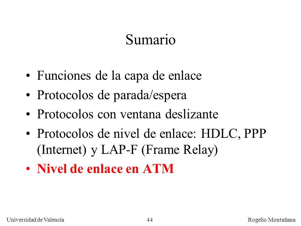 44 Universidad de Valencia Rogelio Montañana Sumario Funciones de la capa de enlace Protocolos de parada/espera Protocolos con ventana deslizante Prot