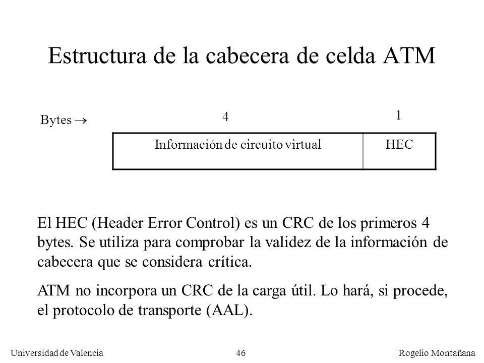 46 Universidad de Valencia Rogelio Montañana Estructura de la cabecera de celda ATM Información de circuito virtualHEC Bytes 4 1 El HEC (Header Error