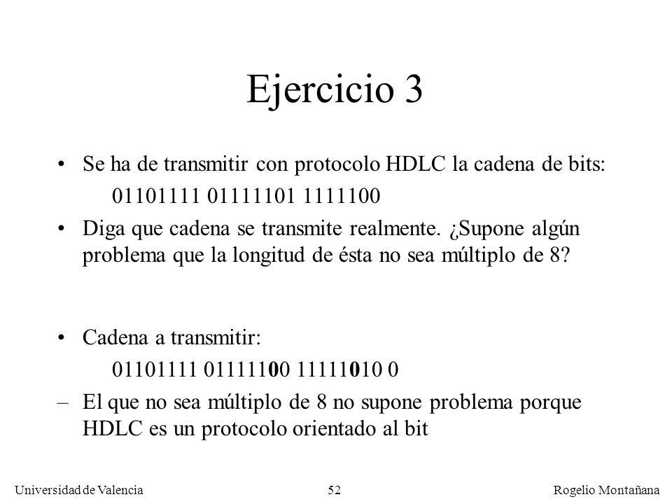 52 Universidad de Valencia Rogelio Montañana Ejercicio 3 Se ha de transmitir con protocolo HDLC la cadena de bits: 01101111 01111101 1111100 Diga que
