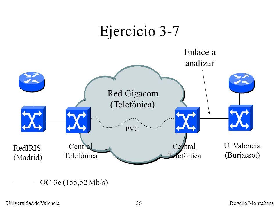 56 Universidad de Valencia Rogelio Montañana Ejercicio 3-7 Red Gigacom (Telefónica) RedIRIS (Madrid) U. Valencia (Burjassot) Central Telefónica Centra