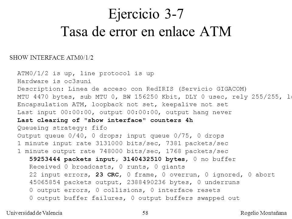 58 Universidad de Valencia Rogelio Montañana Ejercicio 3-7 Tasa de error en enlace ATM SHOW INTERFACE ATM0/1/2 ATM0/1/2 is up, line protocol is up Har