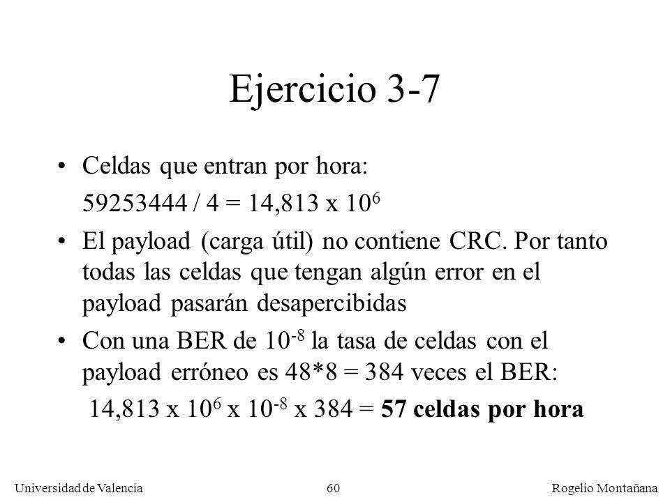 60 Universidad de Valencia Rogelio Montañana Ejercicio 3-7 Celdas que entran por hora: 59253444 / 4 = 14,813 x 10 6 El payload (carga útil) no contien