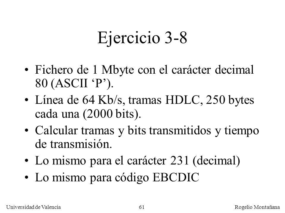 61 Universidad de Valencia Rogelio Montañana Ejercicio 3-8 Fichero de 1 Mbyte con el carácter decimal 80 (ASCII P). Línea de 64 Kb/s, tramas HDLC, 250
