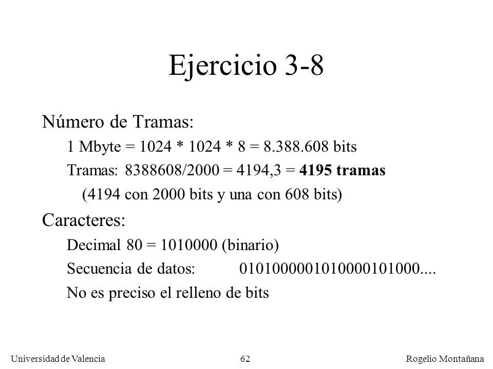 62 Universidad de Valencia Rogelio Montañana Ejercicio 3-8 Número de Tramas: 1 Mbyte = 1024 * 1024 * 8 = 8.388.608 bits Tramas: 8388608/2000 = 4194,3