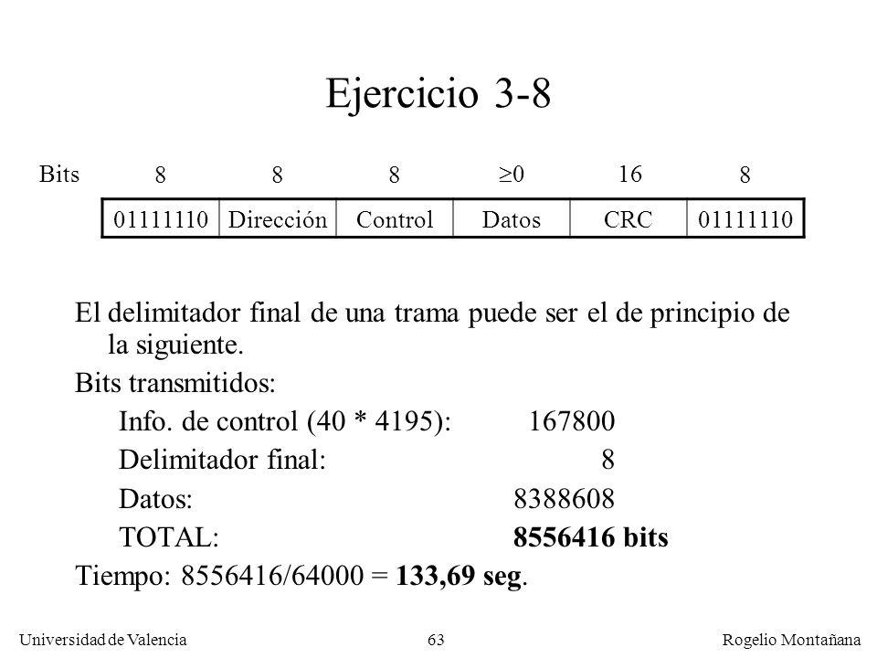 63 Universidad de Valencia Rogelio Montañana Ejercicio 3-8 El delimitador final de una trama puede ser el de principio de la siguiente. Bits transmiti