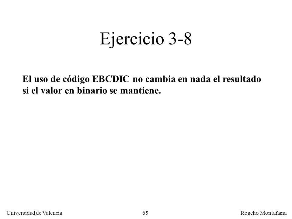 65 Universidad de Valencia Rogelio Montañana El uso de código EBCDIC no cambia en nada el resultado si el valor en binario se mantiene. Ejercicio 3-8