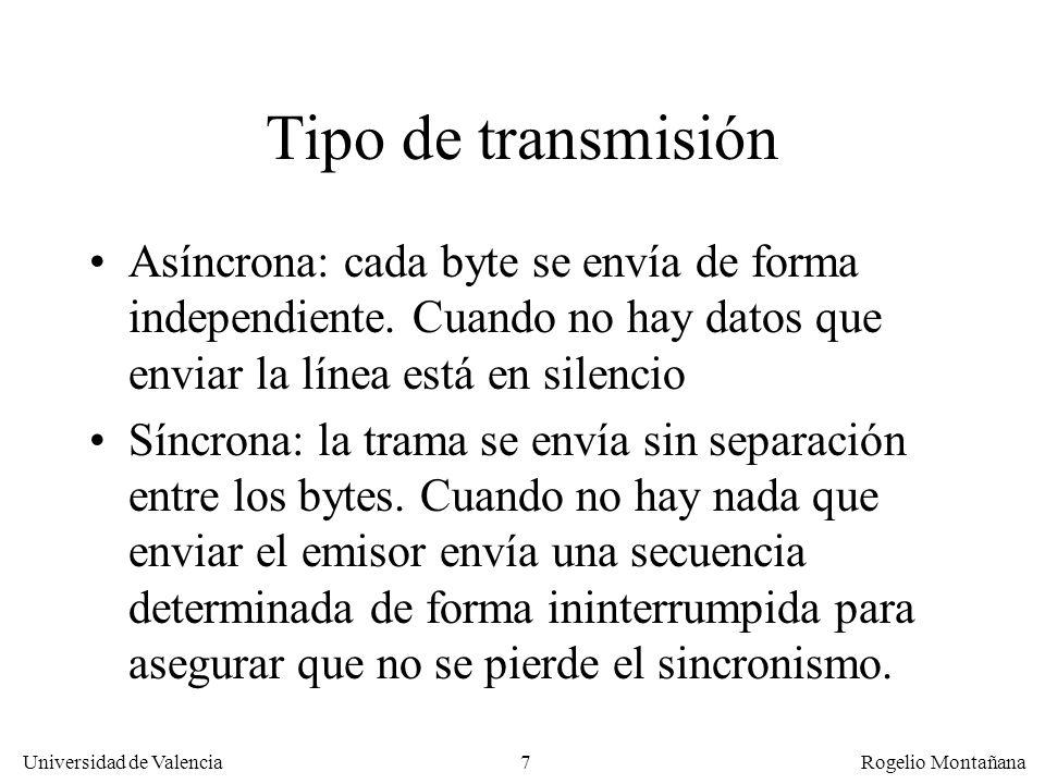 7 Universidad de Valencia Rogelio Montañana Tipo de transmisión Asíncrona: cada byte se envía de forma independiente. Cuando no hay datos que enviar l