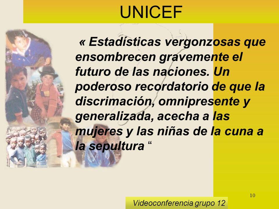 10 Videoconferencia grupo 12 UNICEF « Estadísticas vergonzosas que ensombrecen gravemente el futuro de las naciones.