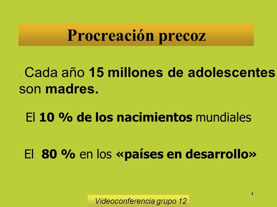 4 Procreación precoz - Cada año 15 millones de adolescentes son madres.