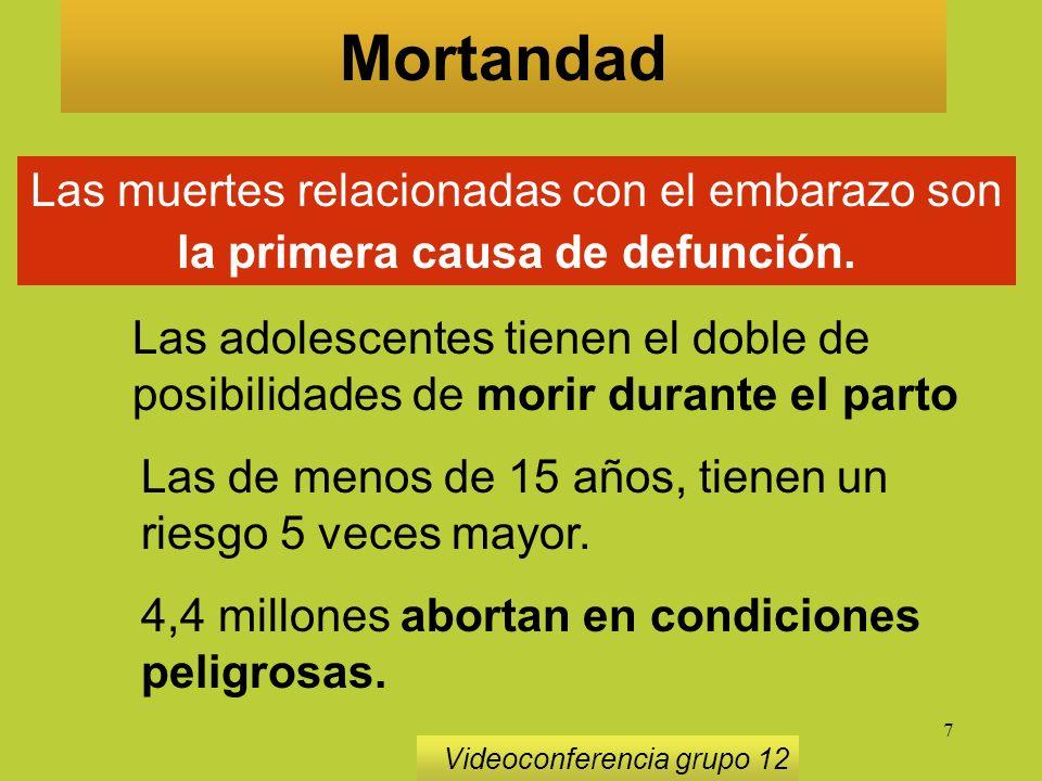 7 Las muertes relacionadas con el embarazo son la primera causa de defunción.