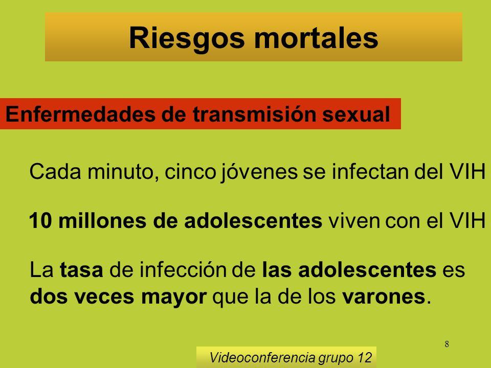 8 Riesgos mortales Videoconferencia grupo 12 Enfermedades de transmisión sexual Cada minuto, cinco jóvenes se infectan del VIH 10 millones de adolescentes viven con el VIH La tasa de infección de las adolescentes es dos veces mayor que la de los varones.