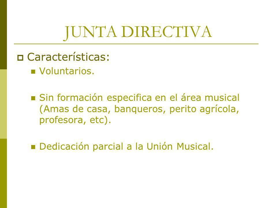 JUNTA DIRECTIVA Características: Voluntarios. Sin formación especifica en el área musical (Amas de casa, banqueros, perito agrícola, profesora, etc).
