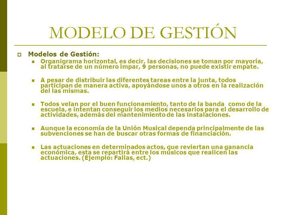 MODELO DE GESTIÓN Modelos de Gestión: Organigrama horizontal, es decir, las decisiones se toman por mayoría, al tratarse de un número impar, 9 persona