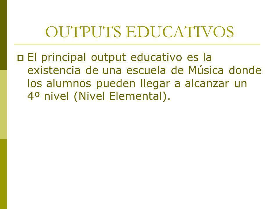 OUTPUTS EDUCATIVOS El principal output educativo es la existencia de una escuela de Música donde los alumnos pueden llegar a alcanzar un 4º nivel (Niv