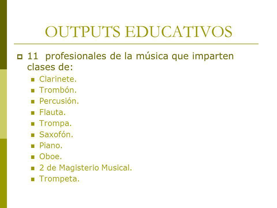 OUTPUTS EDUCATIVOS 11 profesionales de la música que imparten clases de: Clarinete. Trombón. Percusión. Flauta. Trompa. Saxofón. Piano. Oboe. 2 de Mag