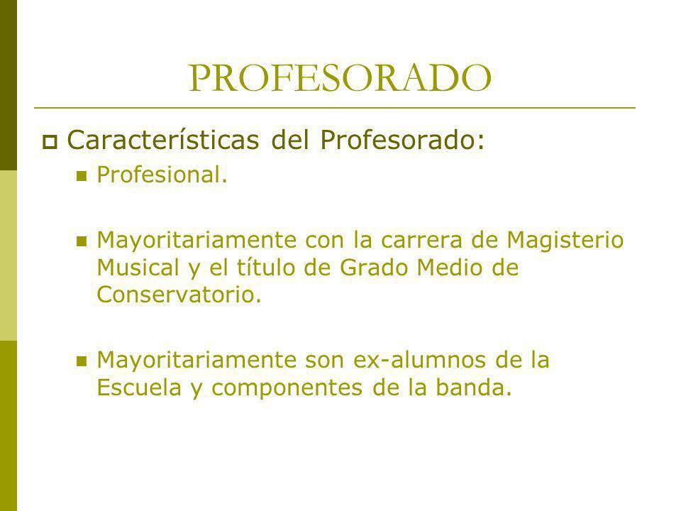 PROFESORADO Características del Profesorado: Profesional. Mayoritariamente con la carrera de Magisterio Musical y el título de Grado Medio de Conserva
