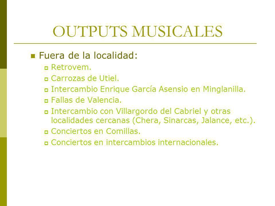 OUTPUTS MUSICALES Fuera de la localidad: Retrovem. Carrozas de Utiel. Intercambio Enrique García Asensio en Minglanilla. Fallas de Valencia. Intercamb