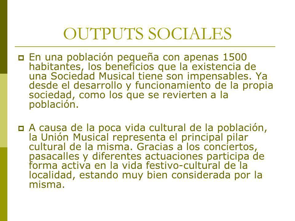 OUTPUTS SOCIALES En una población pequeña con apenas 1500 habitantes, los beneficios que la existencia de una Sociedad Musical tiene son impensables.