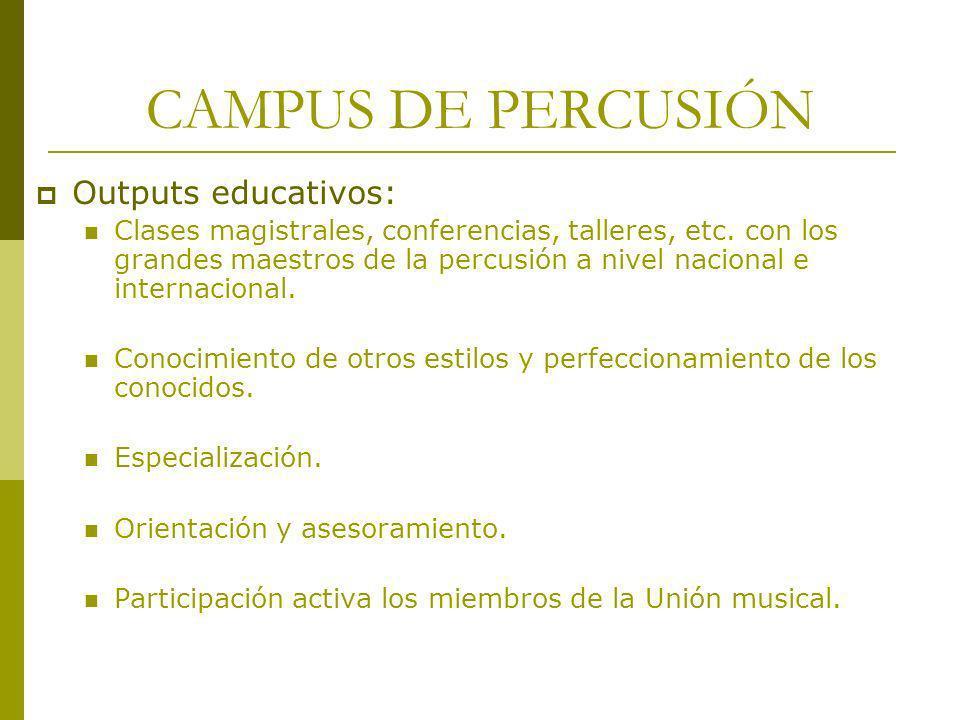 CAMPUS DE PERCUSIÓN Outputs educativos: Clases magistrales, conferencias, talleres, etc. con los grandes maestros de la percusión a nivel nacional e i