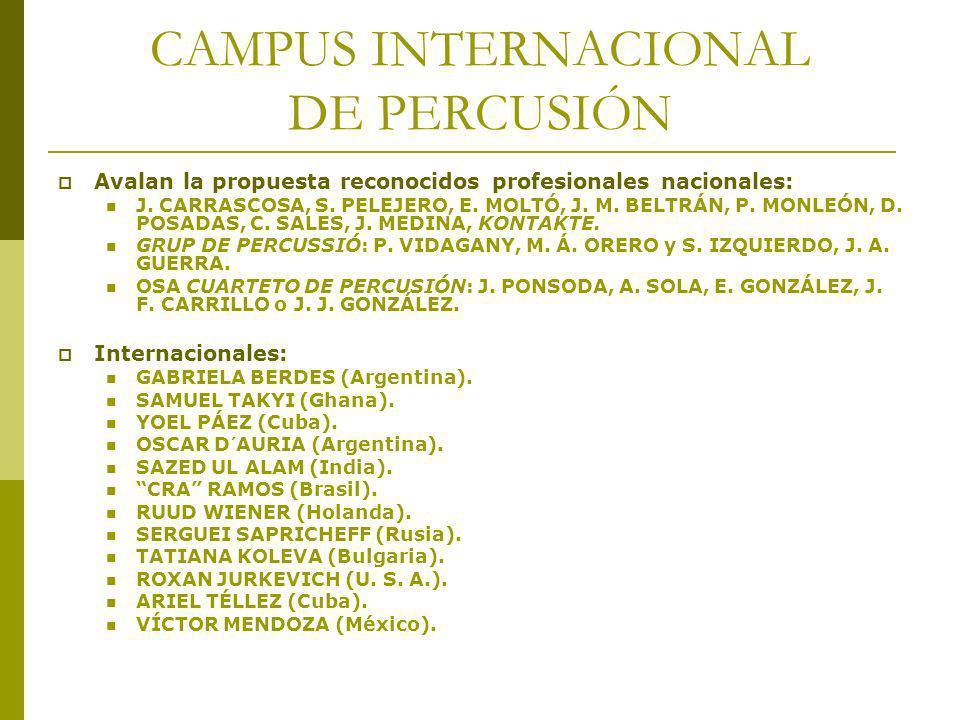 CAMPUS INTERNACIONAL DE PERCUSIÓN Avalan la propuesta reconocidos profesionales nacionales: J. CARRASCOSA, S. PELEJERO, E. MOLTÓ, J. M. BELTRÁN, P. MO