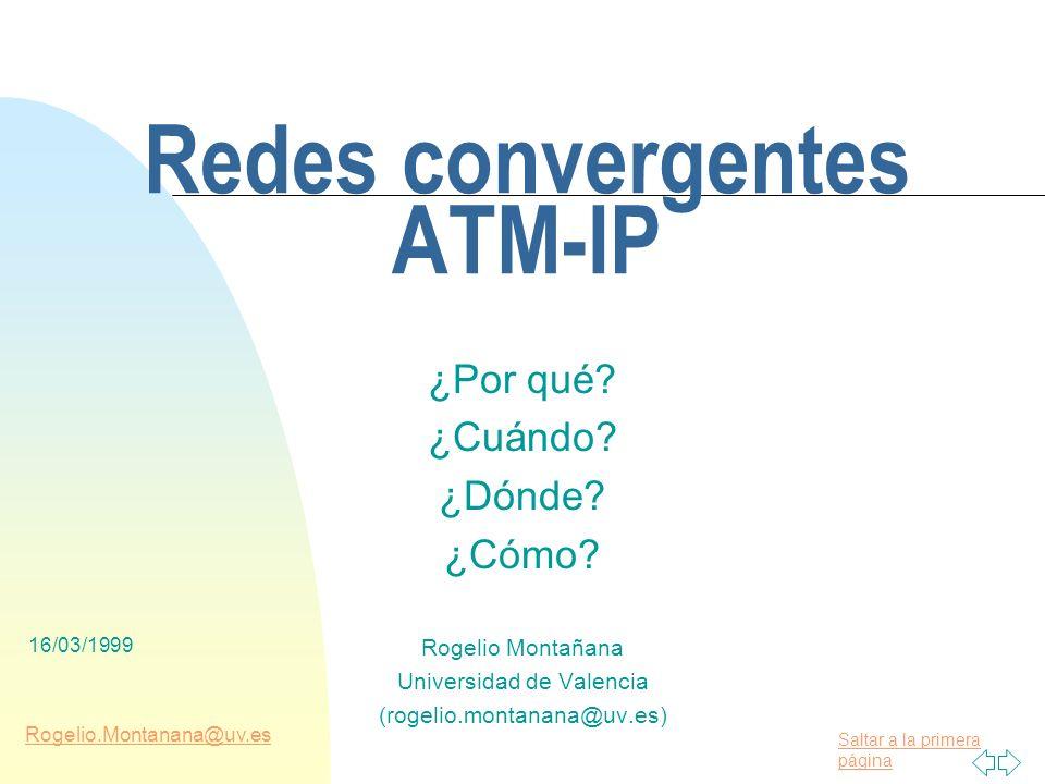 16/03/1999 ATM IIR España Objetivo n Mostrar las ventajas e inconvenientes del uso de ATM para el transporte de tráfico IP n Explicar las características de las diversas formas de usar ATM para el transporte de IP n Orientar en el proceso de decisión para el diseño de una red IP/ATM