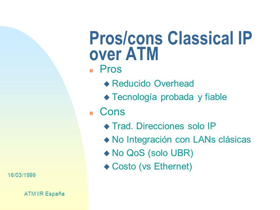 16/03/1999 ATM IIR España Pros/cons Classical IP over ATM n Pros u Reducido Overhead u Tecnología probada y fiable n Cons u Trad.