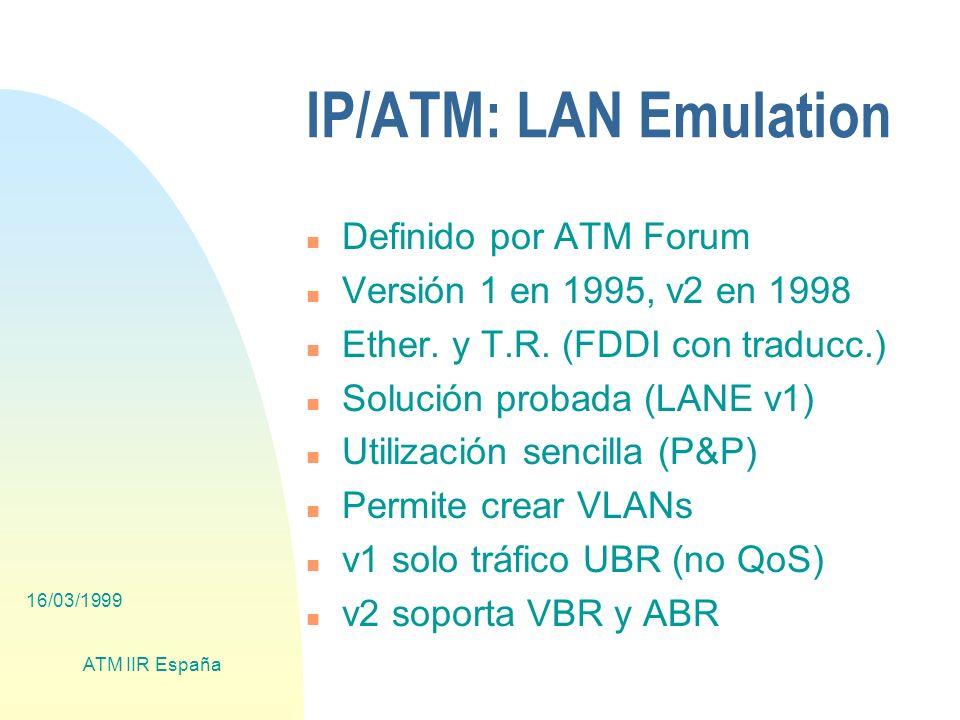 16/03/1999 ATM IIR España IP/ATM: LAN Emulation n Definido por ATM Forum n Versión 1 en 1995, v2 en 1998 n Ether.