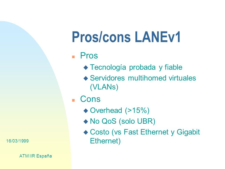 16/03/1999 ATM IIR España Pros/cons LANEv1 n Pros u Tecnología probada y fiable u Servidores multihomed virtuales (VLANs) n Cons u Overhead (>15%) u No QoS (solo UBR) u Costo (vs Fast Ethernet y Gigabit Ethernet)