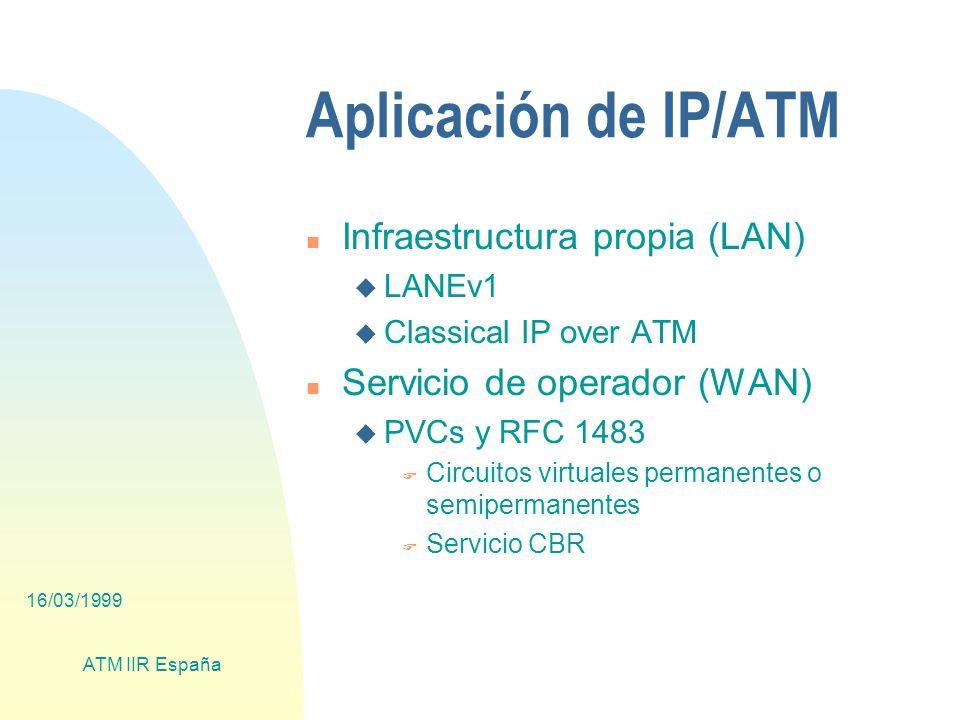 16/03/1999 ATM IIR España Aplicación de IP/ATM n Infraestructura propia (LAN) u LANEv1 u Classical IP over ATM n Servicio de operador (WAN) u PVCs y RFC 1483 F Circuitos virtuales permanentes o semipermanentes F Servicio CBR