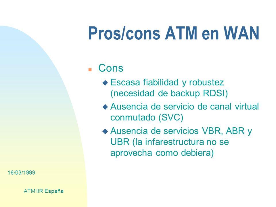 16/03/1999 ATM IIR España Pros/cons ATM en WAN n Cons u Escasa fiabilidad y robustez (necesidad de backup RDSI) u Ausencia de servicio de canal virtual conmutado (SVC) u Ausencia de servicios VBR, ABR y UBR (la infarestructura no se aprovecha como debiera)
