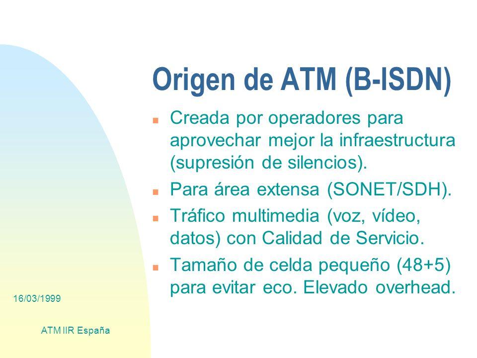 16/03/1999 ATM IIR España Futuro (WAN) n Para reducir el overhead de ATM (~20%) se plantea: u Suprimir las capas ATM/AAL5: F POS (PPP over SONET/SDH) u Suprimir también la capa SDH: F IP sobre fibra (DWDM) n Esto solo tiene sentido si el tráfico IP es al menos de 155 Mb/s