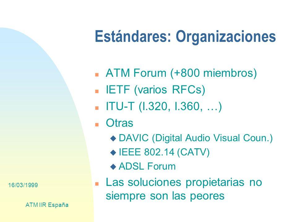 16/03/1999 ATM IIR España Estándares: Organizaciones n ATM Forum (+800 miembros) n IETF (varios RFCs) n ITU-T (I.320, I.360, …) n Otras u DAVIC (Digital Audio Visual Coun.) u IEEE 802.14 (CATV) u ADSL Forum n Las soluciones propietarias no siempre son las peores