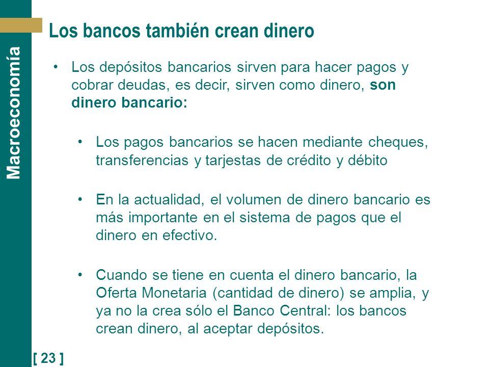 [ 23 ] Macroeconomía Los bancos también crean dinero Los depósitos bancarios sirven para hacer pagos y cobrar deudas, es decir, sirven como dinero, so