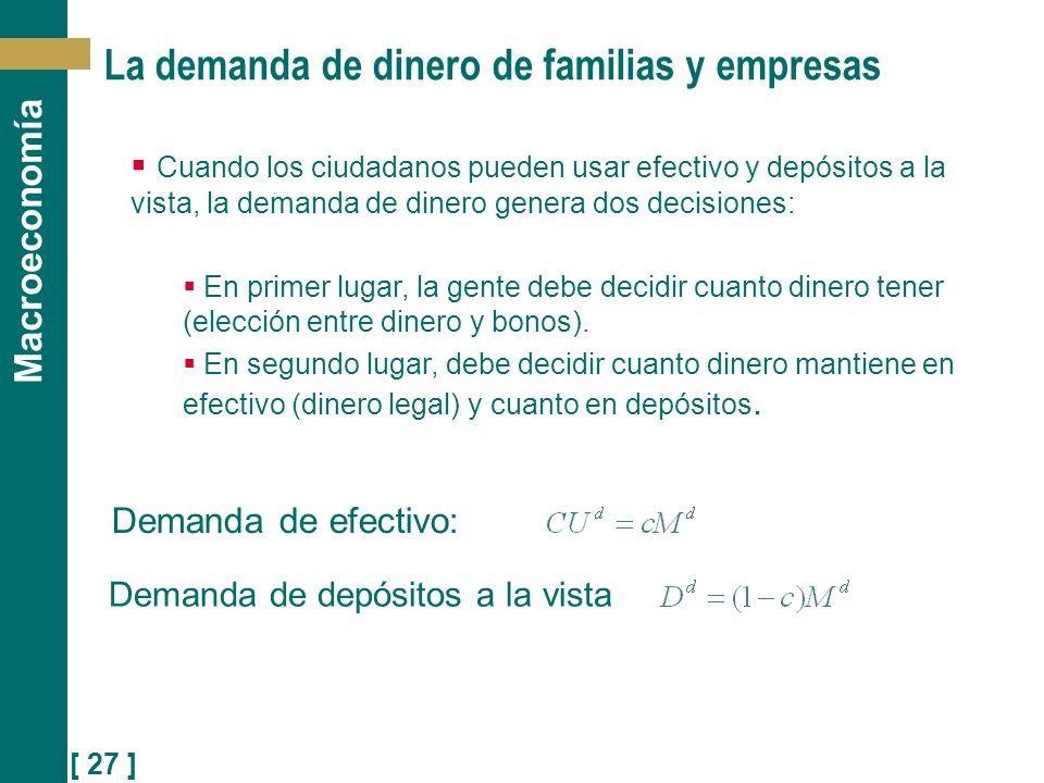 [ 27 ] Macroeconomía La demanda de dinero de familias y empresas Demanda de efectivo: Demanda de depósitos a la vista Cuando los ciudadanos pueden usa