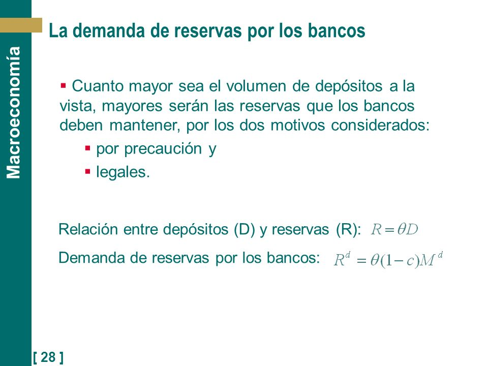 [ 28 ] Macroeconomía La demanda de reservas por los bancos Relación entre depósitos (D) y reservas (R): Demanda de reservas por los bancos: Cuanto may
