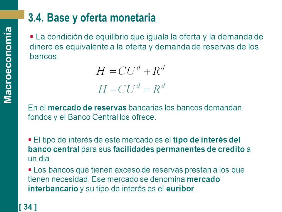 [ 34 ] Macroeconomía 3.4. Base y oferta monetaria La condición de equilibrio que iguala la oferta y la demanda de dinero es equivalente a la oferta y