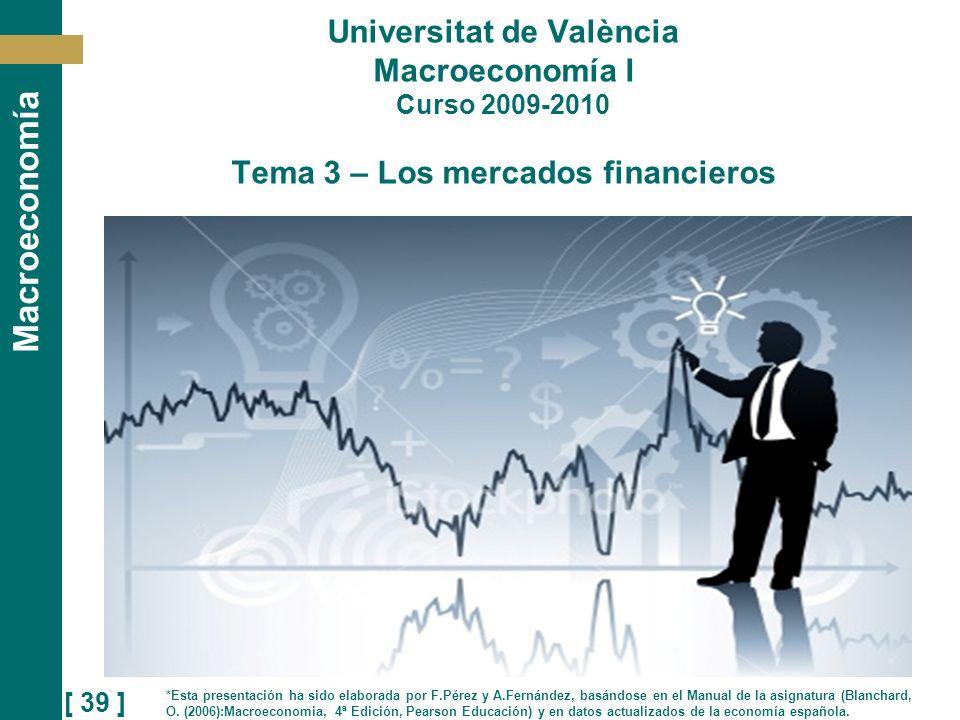 [ 39 ] Macroeconomía Universitat de València Macroeconomía I Curso 2009-2010 Tema 3 – Los mercados financieros *Esta presentación ha sido elaborada po