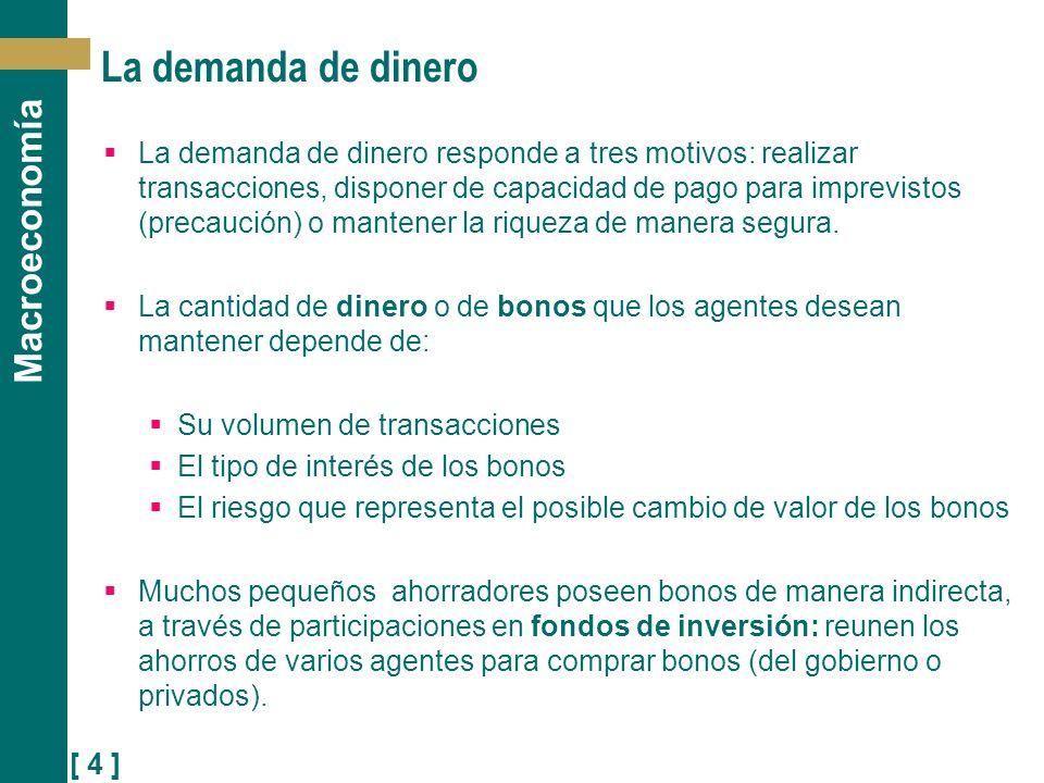 [ 4 ] Macroeconomía La demanda de dinero La demanda de dinero responde a tres motivos: realizar transacciones, disponer de capacidad de pago para impr