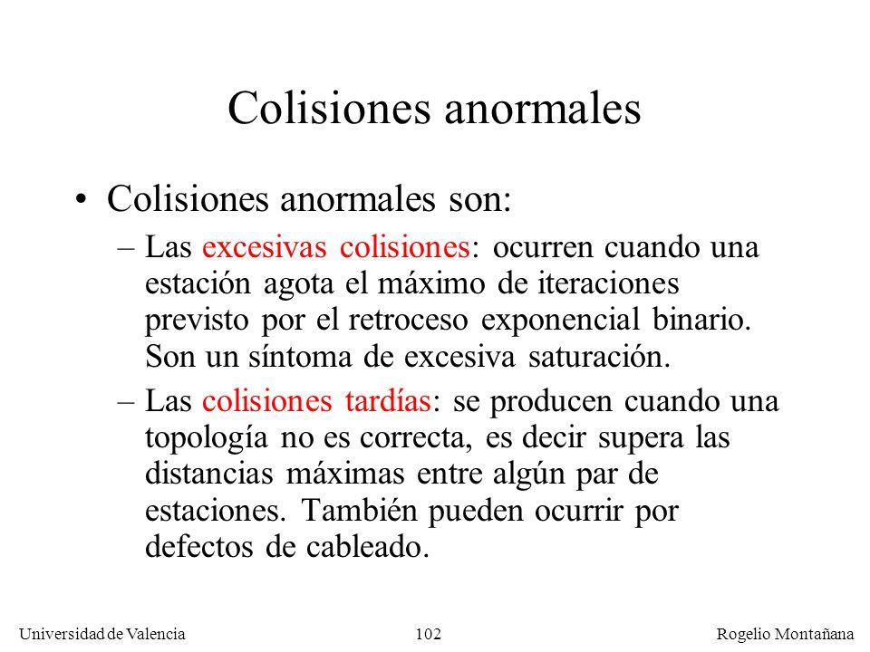 102 Universidad de Valencia Rogelio Montañana Colisiones anormales Colisiones anormales son: –Las excesivas colisiones: ocurren cuando una estación agota el máximo de iteraciones previsto por el retroceso exponencial binario.