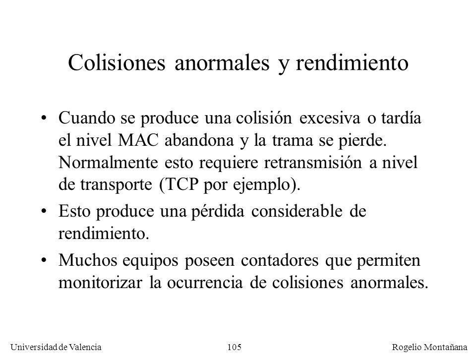 105 Universidad de Valencia Rogelio Montañana Colisiones anormales y rendimiento Cuando se produce una colisión excesiva o tardía el nivel MAC abandon