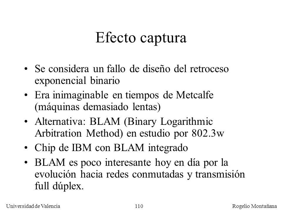 110 Universidad de Valencia Rogelio Montañana Efecto captura Se considera un fallo de diseño del retroceso exponencial binario Era inimaginable en tie