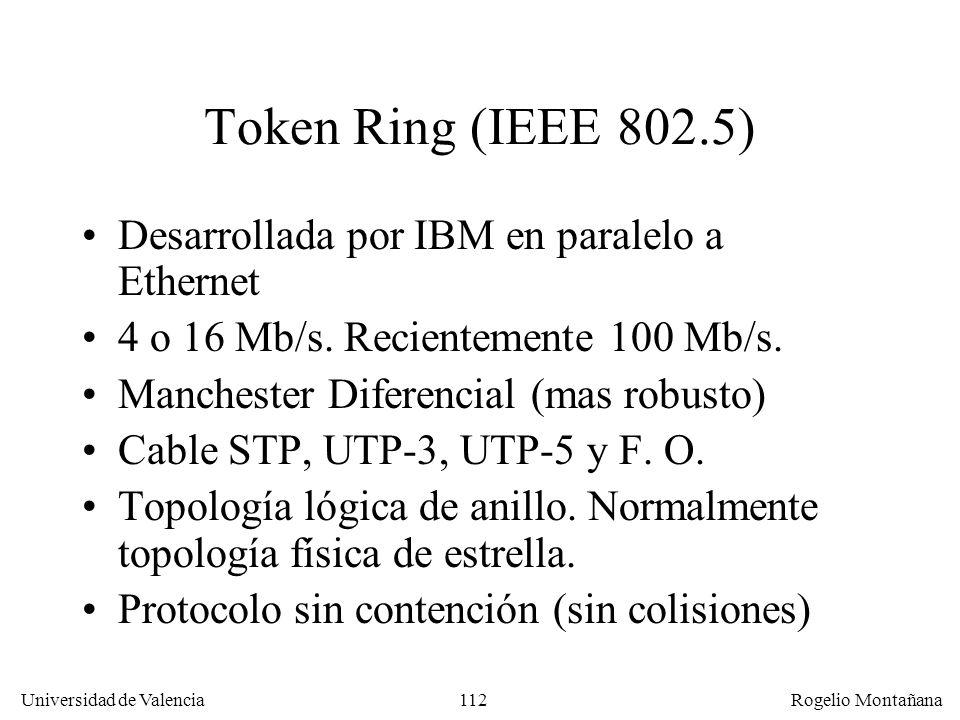 112 Universidad de Valencia Rogelio Montañana Token Ring (IEEE 802.5) Desarrollada por IBM en paralelo a Ethernet 4 o 16 Mb/s. Recientemente 100 Mb/s.