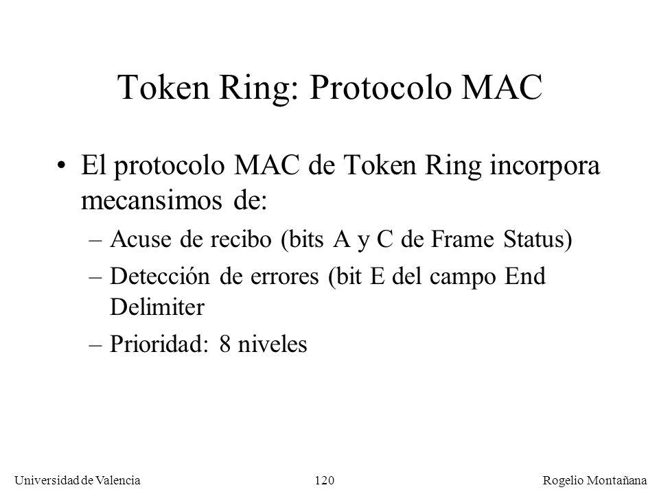 120 Universidad de Valencia Rogelio Montañana Token Ring: Protocolo MAC El protocolo MAC de Token Ring incorpora mecansimos de: –Acuse de recibo (bits A y C de Frame Status) –Detección de errores (bit E del campo End Delimiter –Prioridad: 8 niveles