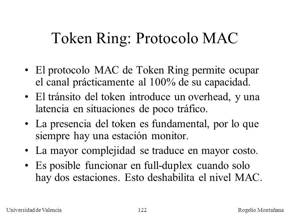 122 Universidad de Valencia Rogelio Montañana Token Ring: Protocolo MAC El protocolo MAC de Token Ring permite ocupar el canal prácticamente al 100% de su capacidad.