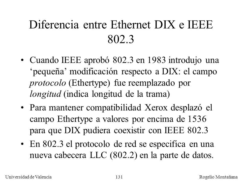 131 Universidad de Valencia Rogelio Montañana Diferencia entre Ethernet DIX e IEEE 802.3 Cuando IEEE aprobó 802.3 en 1983 introdujo una pequeña modificación respecto a DIX: el campo protocolo (Ethertype) fue reemplazado por longitud (indica longitud de la trama) Para mantener compatibilidad Xerox desplazó el campo Ethertype a valores por encima de 1536 para que DIX pudiera coexistir con IEEE 802.3 En 802.3 el protocolo de red se especifica en una nueva cabecera LLC (802.2) en la parte de datos.